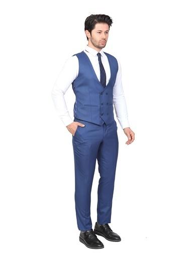 White Stone Yelekli Takım Elbise Slim Fit Desenli 6 Drop Renkli